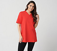 Denim & Co. Essentials Short Sleeve Oversized V-neck T-shirt - A211539