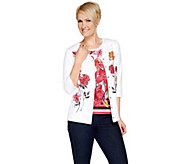 Quacker Factory Floral Print 3/4 Sleeve Knit Twinset - A251139