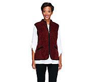 Susan Graver Melange Fleece Zip Front Vest w/ Solid Trim - A258639