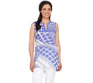 Susan Graver Printed Feather Weave Sleeveless Tunic - A265839