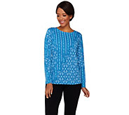 Bob Mackies Long Sleeve Patchwork Printed Knit Top - A273539