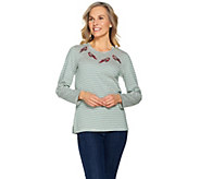 Quacker Factory Holiday Novelty Striped Long Sleeve T-shirt - A284439