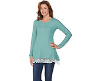 LOGO by Lori Goldstein Henley Waffle Knit Top with Lace Hem - A285339