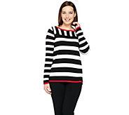 Susan Graver Striped Bateau Neck Sweater - A286739