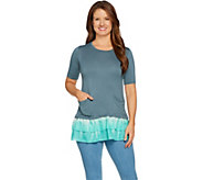 LOGO by Lori Goldstein Solid Top with Tie-Dye Woven Ruffle Hem - A288039