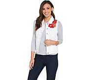 GRAVER Susan Graver High Stretch Denim Vest with Embroidery - A303339