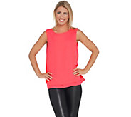 Joan Rivers Double Layer Crepe Tank with Split Back - A304739