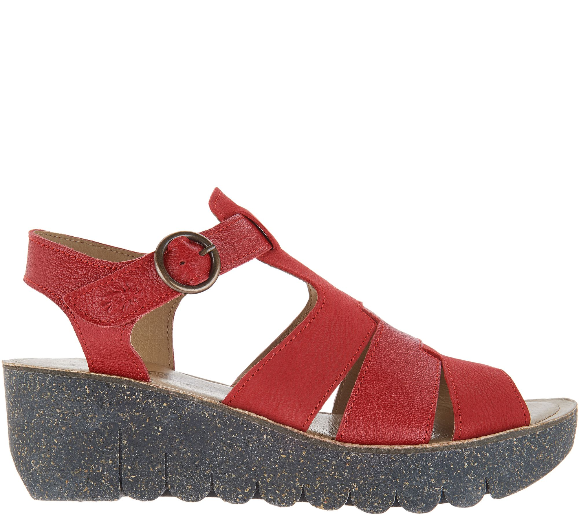 7e894ddcaa2183 FLY London Leather Multi Strap Wedge Sandals - Yuni - Page 1 — QVC.com