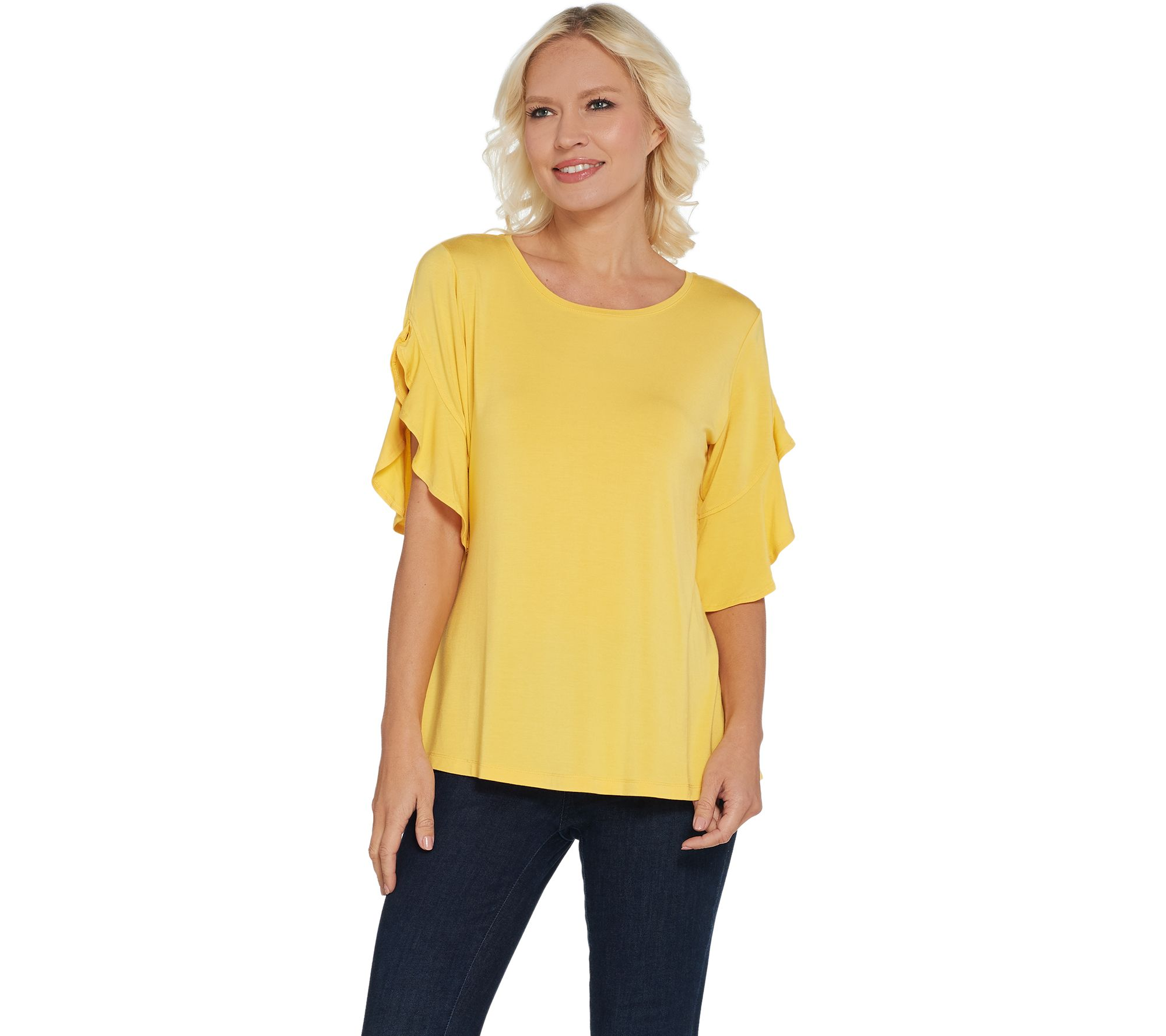 aad345e976f47d H by Halston Flutter Sleeve Crew Neck Knit Top - Page 1 — QVC.com