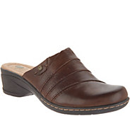 Earth Origins Leather Slip-On Clogs - Ginger - A311339