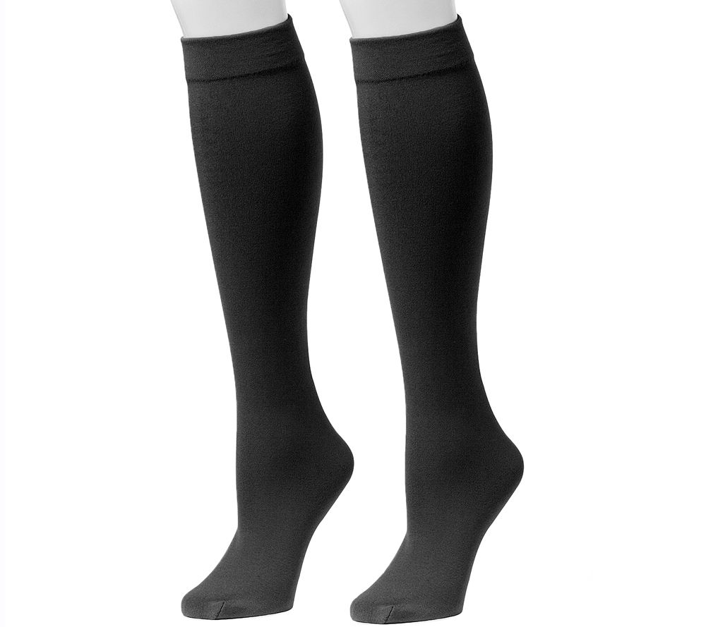8c5128f856b MUK LUKS Women s Fleece-Lined Knee-High Socks 2-Pair Pack - Page 1 — QVC.com