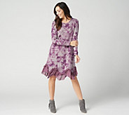 LOGO by Lori Goldstein Sweater Knit Dress w/ Ruffle Chiffon Hem - A343839