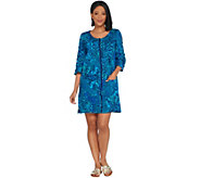 As Is Denim & Co. Beach French Terry Cover-Up w/Slit Sleeve Detail - A345639