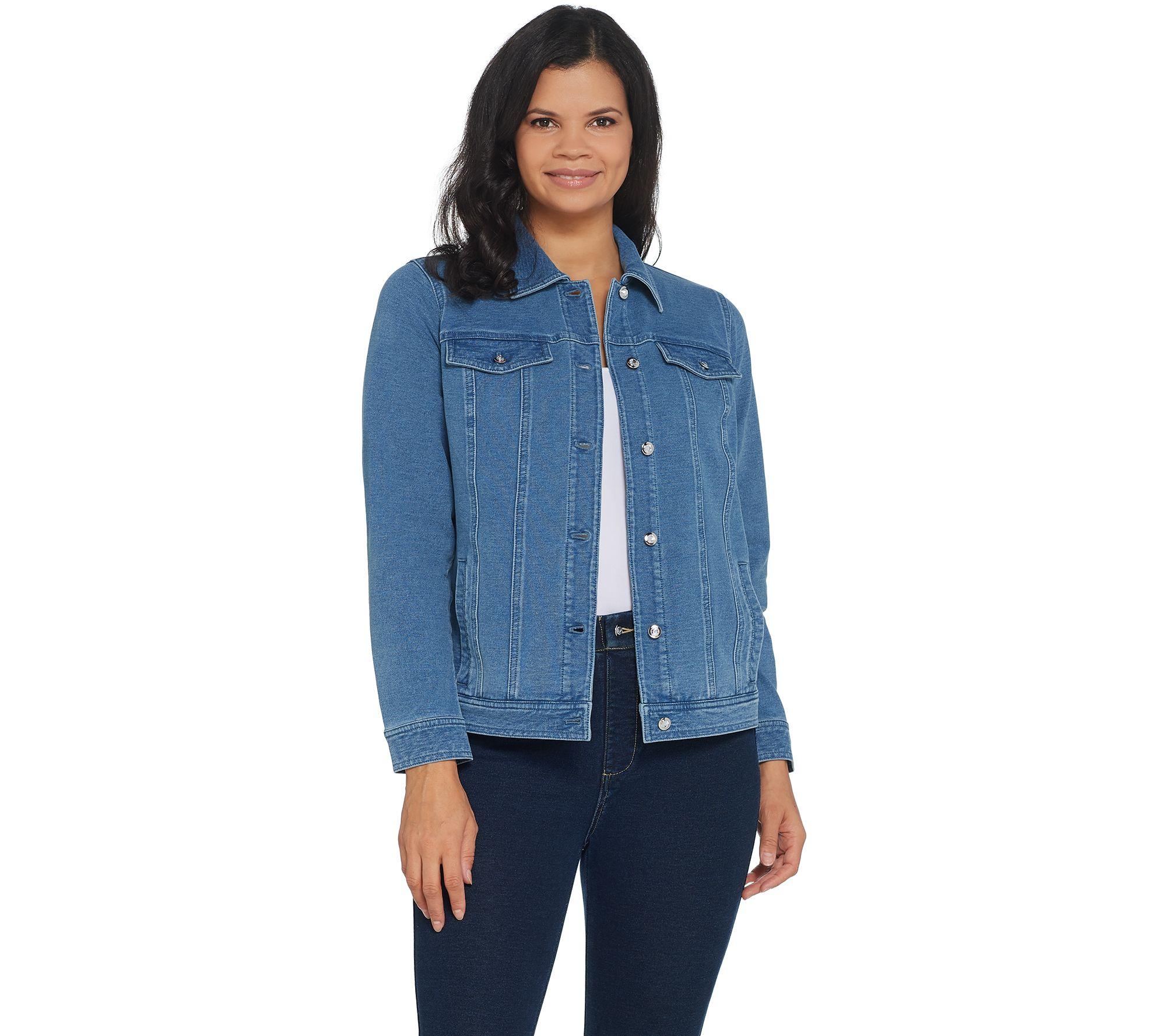 637c3e3504355 Quacker Factory DreamJeannes Button Front Jean Jacket - Page 1 — QVC.com