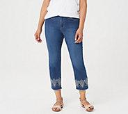 Susan Graver Petite High Stretch Denim Crop Jeans - A352239