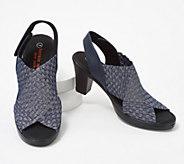 Bernie Mev Basket Weave Heeled Sandals w/ Back-Strap - Beatrice - A353739