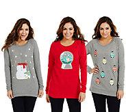 Bethany Mota Choice of Holiday Motif Long Sleeve Sweatshirt - A70639