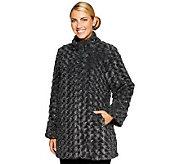 Dennis Basso Textured Rosette Faux Fur A-line Coat - A86539