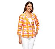 Liz Claiborne New York 3/4 Sleeve Plaid Print Blazer - A253240