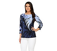 Bob Mackies Tropical Shade Print Jersey Knit Pullover 3/4 Sleeve Top - A254140