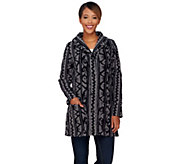 Denim & Co. Printed Fleece Long Sleeve Shawl Collar Jacket - A272140