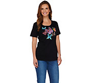 Quacker Factory Butterfly Embellished Short Sleeve T-shirt - A276740