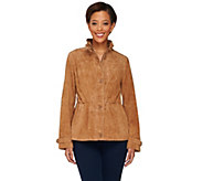 As Is Dennis Basso Washable Suede Anorak with Stand Collar - A277640