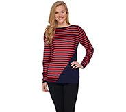Susan Graver Striped Rayon Nylon Bateau Neck Sweater - A285440