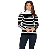 Susan Graver Striped Rayon Nylon Cold Shoulder Sweater - A286740