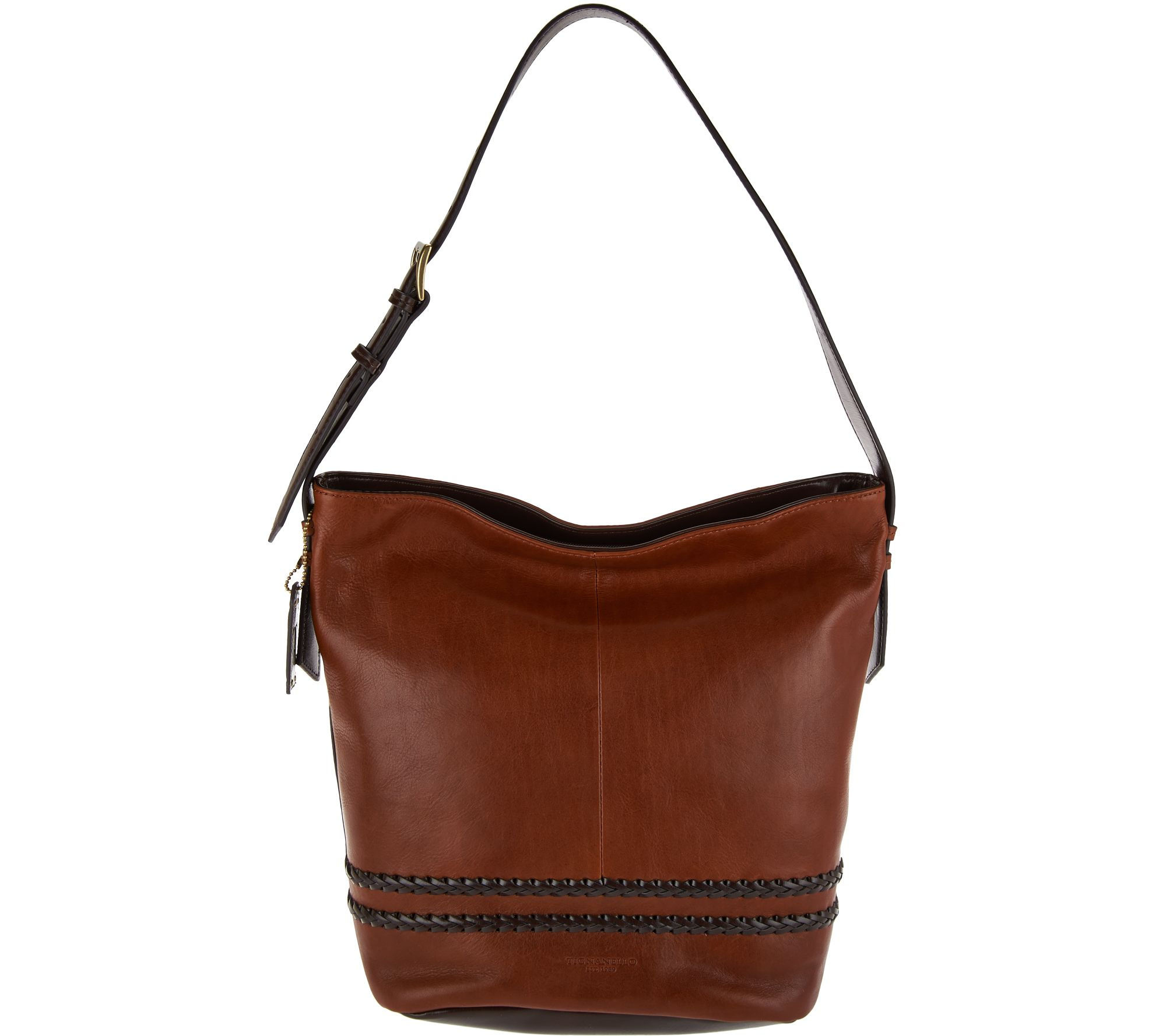 As Is Tignanello Vintage Leather Rfid Bucket Hobo Bag Page 1 Qvc