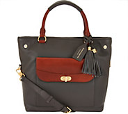 As Is Isaac Mizrahi Live! Bridgehampton Pebble Leather Shopper Handbag - A291740