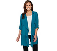 As Is Joan Rivers Soft Crepe Cascade Front Jacket - A295540