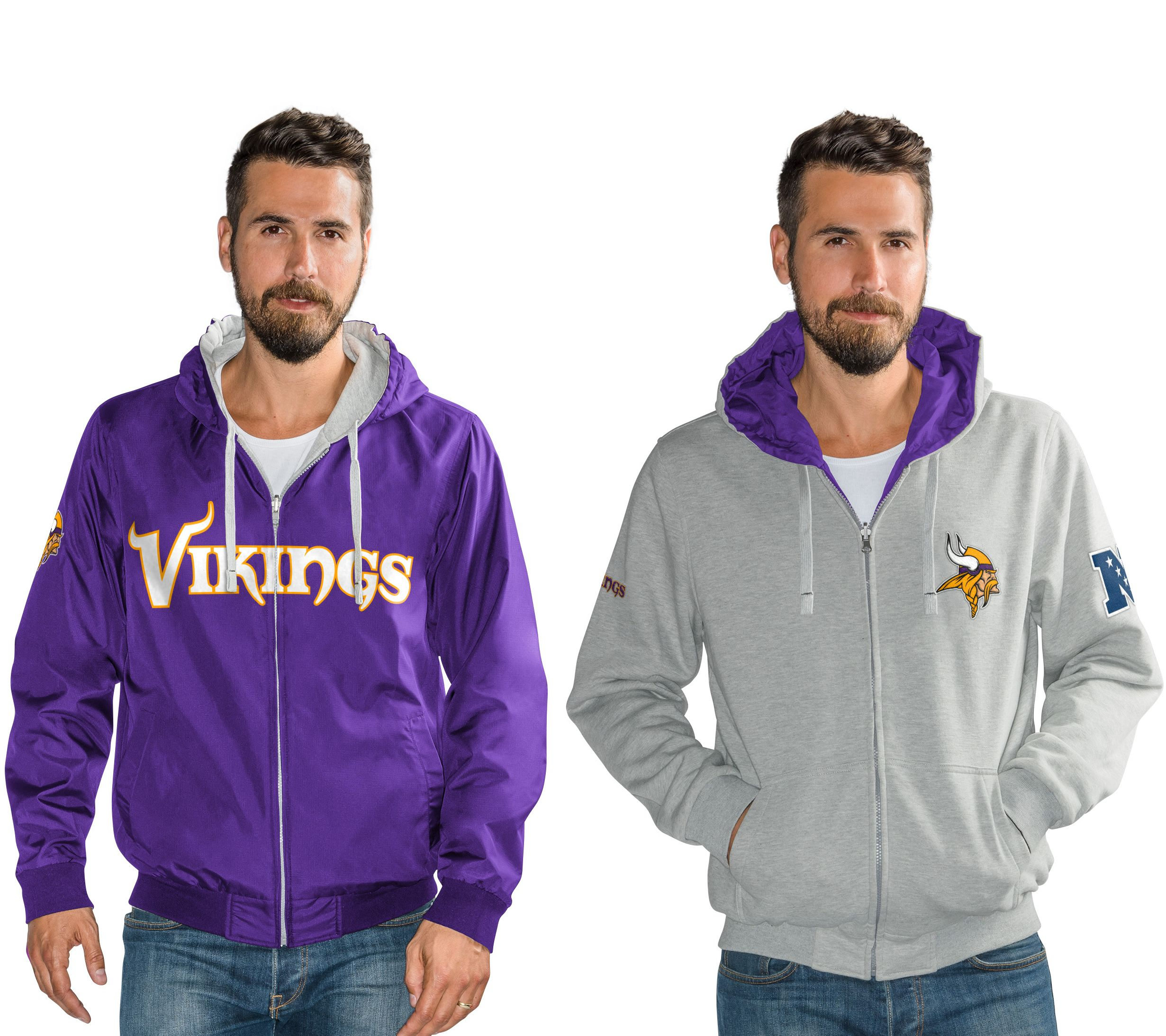 100% authentic 68864 8c245 NFL Reversible Hoodie and Jacket in Team Colors — QVC.com