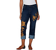 LOGO Lavish by Lori Goldstein Straight Leg Crop Jeans w/ Sequin Detail - A301240
