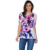 Isaac Mizrahi Live! Elbow Sleeve Floral Print Knit Tunic - A301940
