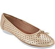 Clarks Perforated Leather Ballet Flats - Gracelin Lea - A306040