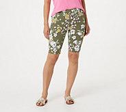 Isaac Mizrahi Live! Petite 24/7 Stretch Tropical Floral Bermuda Shorts - A306840