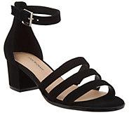 Isaac Mizrahi Live! Suede Triple Strap Block Heel Sandals - A307540