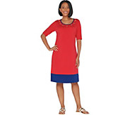 Quacker Factory Color-Blocked Knit Dress with Rhinestone Grommets - A307840