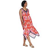 Tolani Collection Printed Asymmetric Hem Woven Dress - A307940