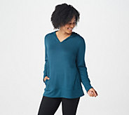 Denim & Co. Active Heavenly Jersey Long-Sleeve Top with Hood - A345240