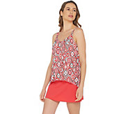 As Is Denim & Co. Beach Hi- Low Tankini Swimsuit with Skirt - A345640