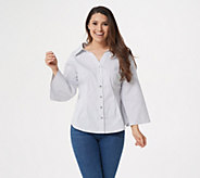 Laurie Felt Wide Neck Button Front Blouse - A346740