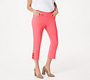Belle by Kim Gravel Citi Twill Cropped Pant w/ Bow Detail - A347140