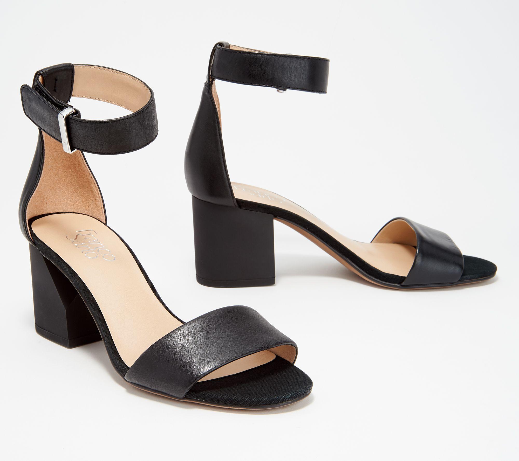 4ed2e009e9 Franco Sarto Suede or Leather Block Heeled Sandals- Miranda — QVC.com
