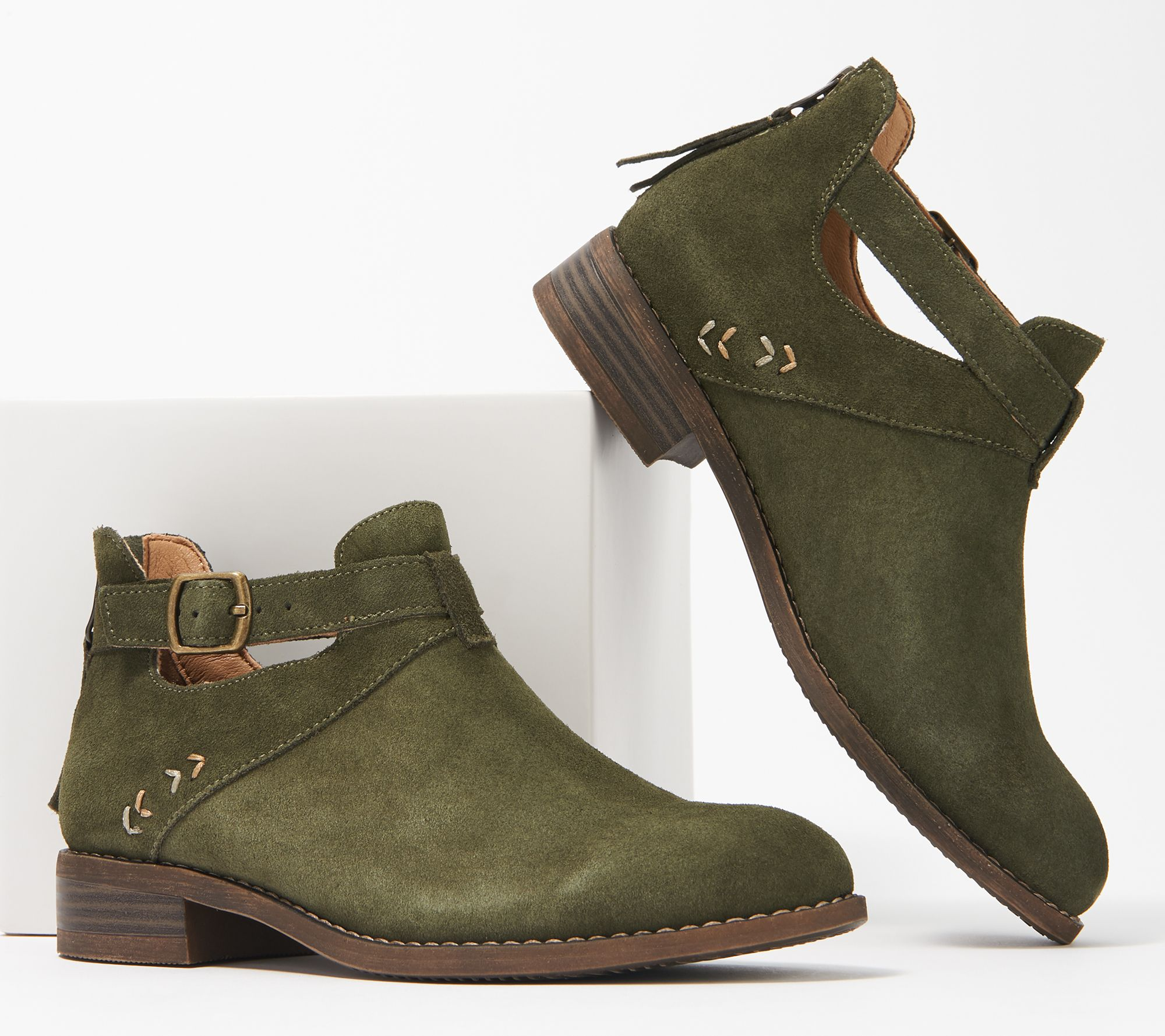 online shop united states clearance sale Skechers Buckle Ankle Boots - Sepia — QVC.com