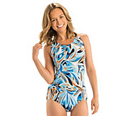 Dolfin Aquashape Print Conservative Lap Swimsuit - A423940