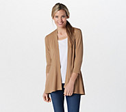 Susan Graver Liquid Knit 3/4 Sleeve Cardigan with Peplum - A255341