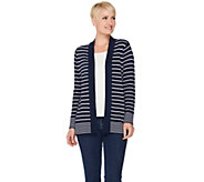 Susan Graver Striped Cotton Acrylic Cardigan Sweater - A285441
