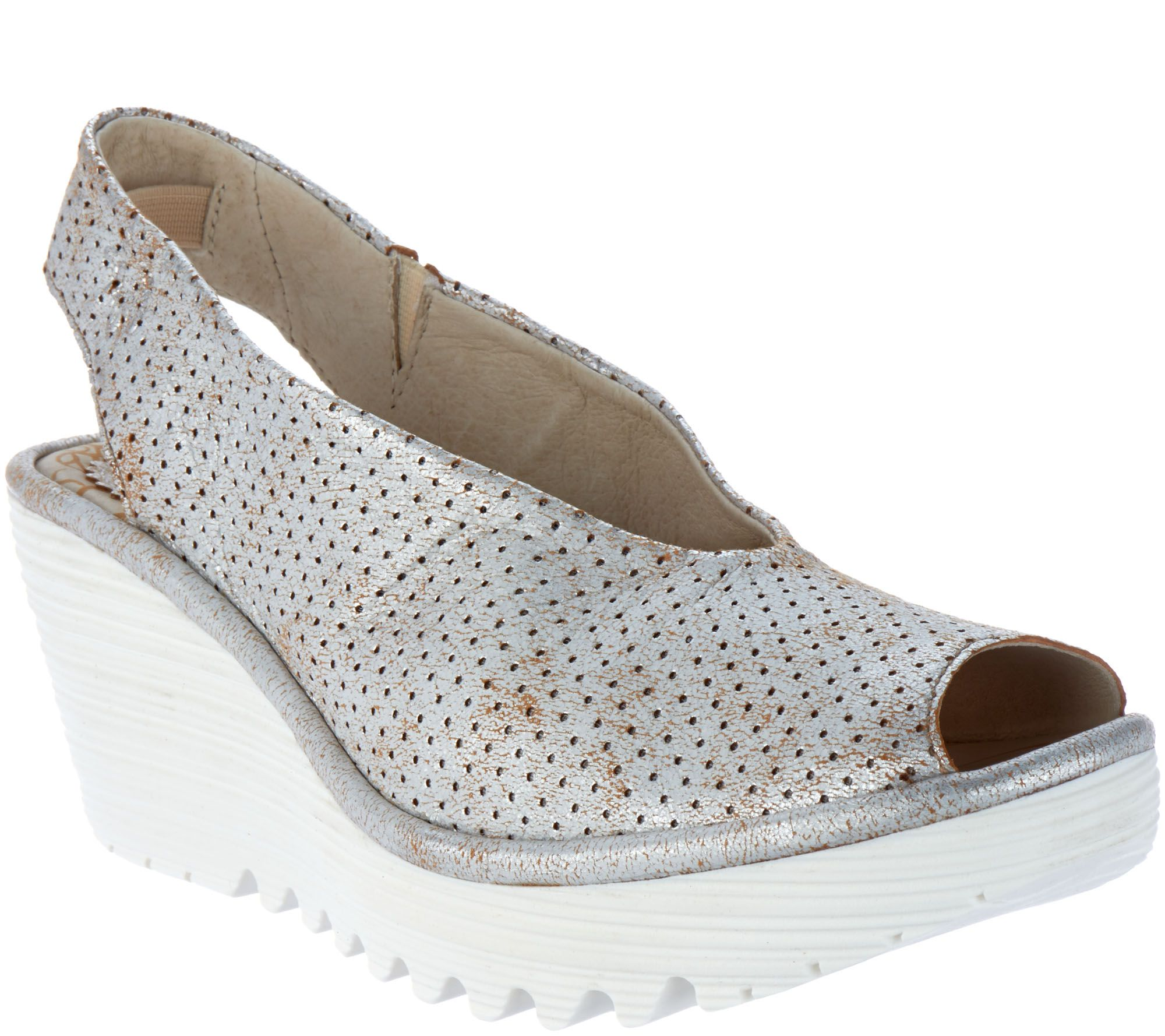daee053f263b FLY London Leather Perforated Peep-toe Wedges - Yazu Perf - Page 1 — QVC.com